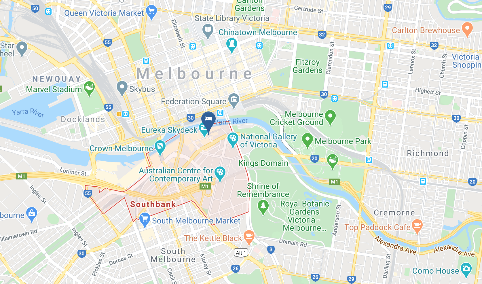 Google Map of Travelodge Southbank Melbourne