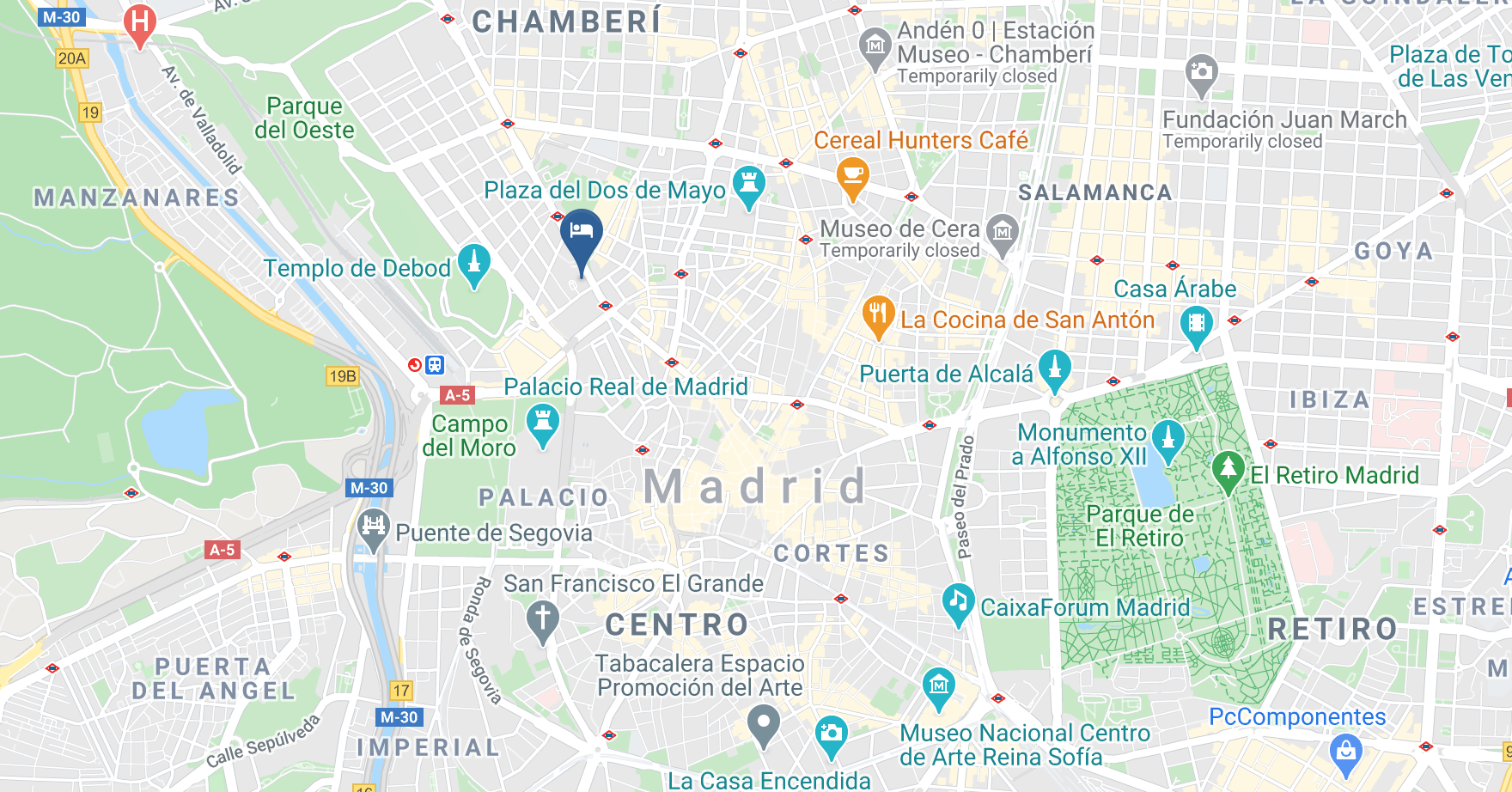 Google Map of Barcelo Torre de Madrid Hotel