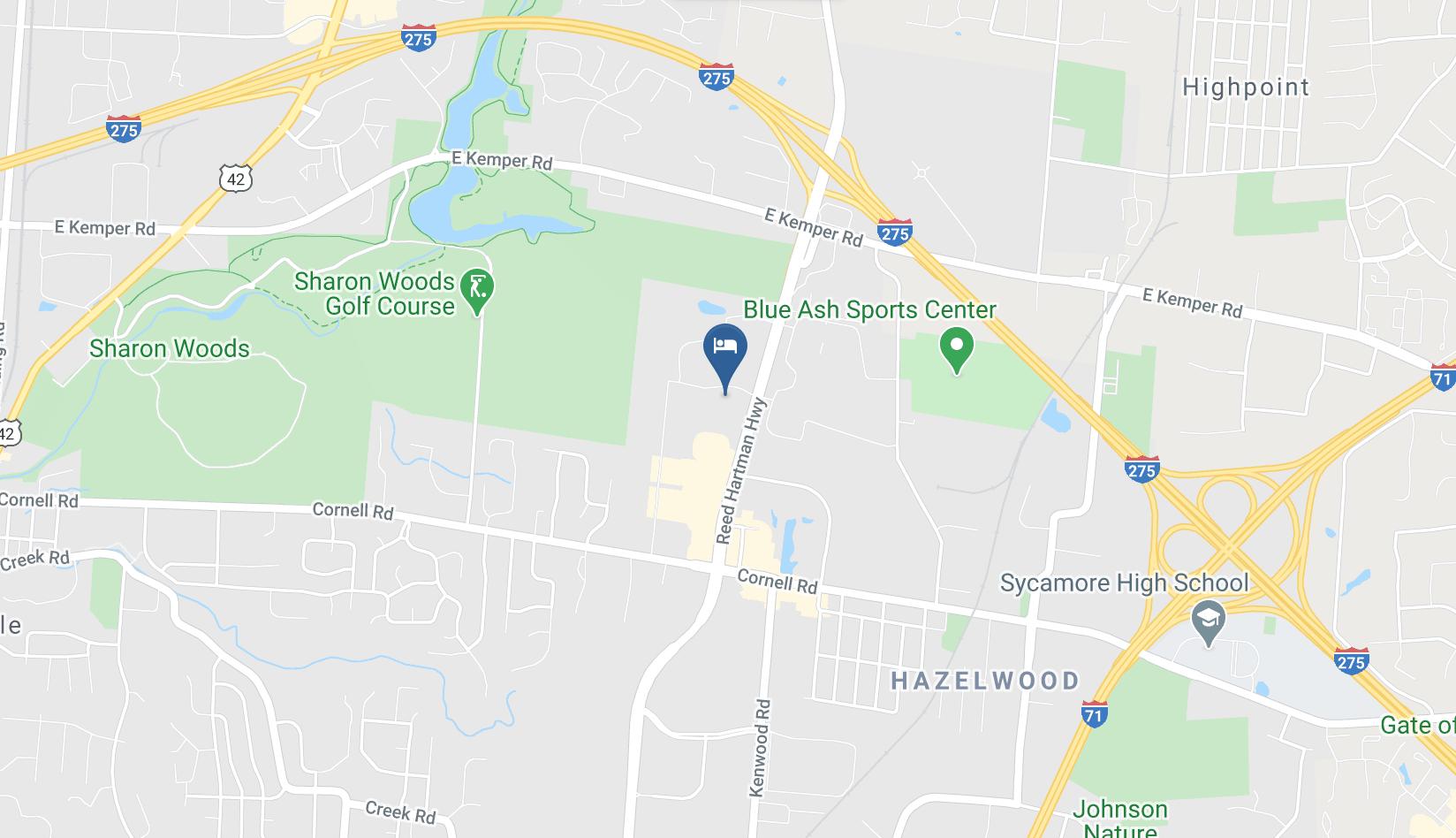 Google Map of Hyatt Place Cincinnati Blue Ash