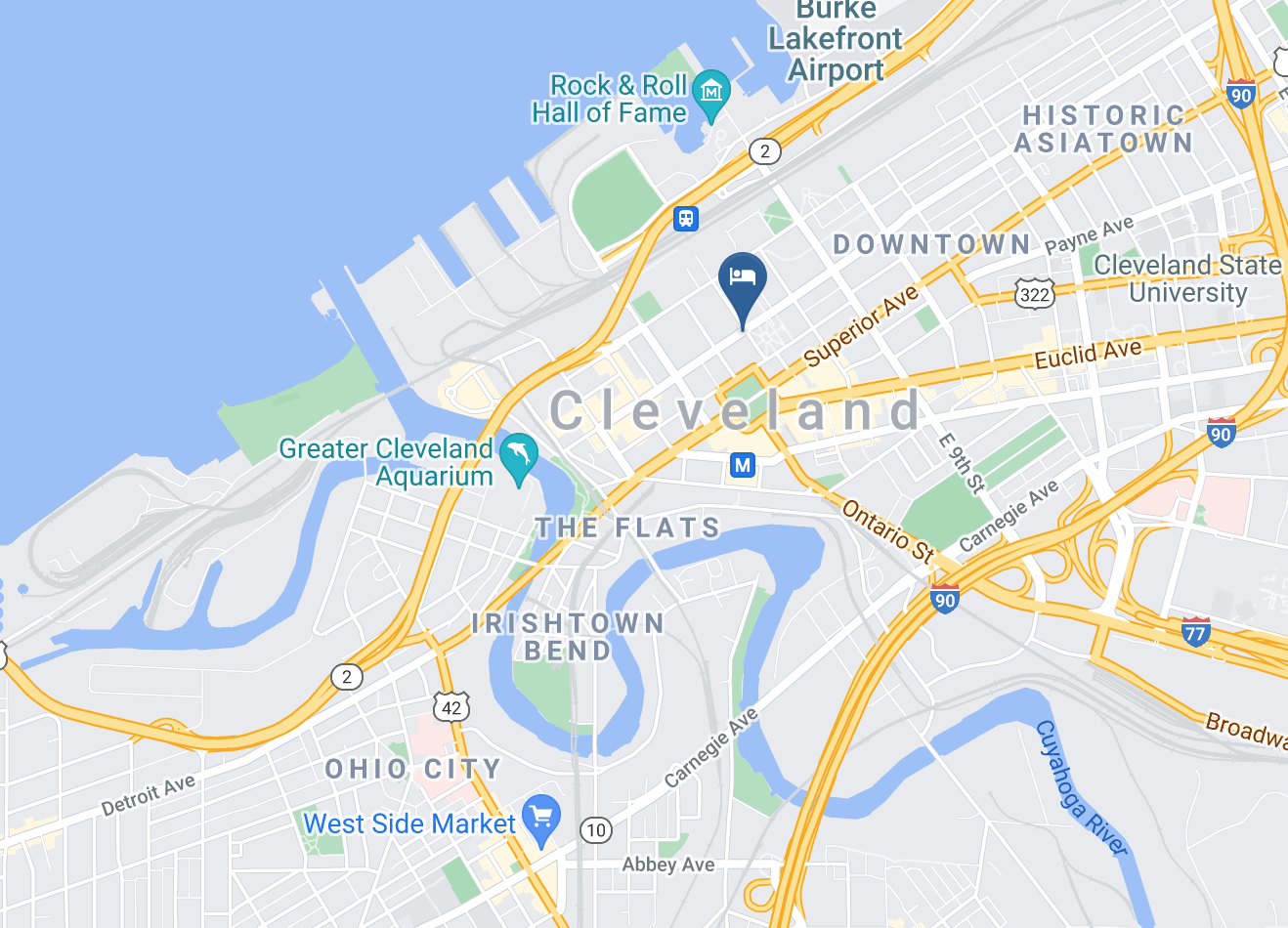 Google Map of Cleveland Marriott Downtown at Key Tower