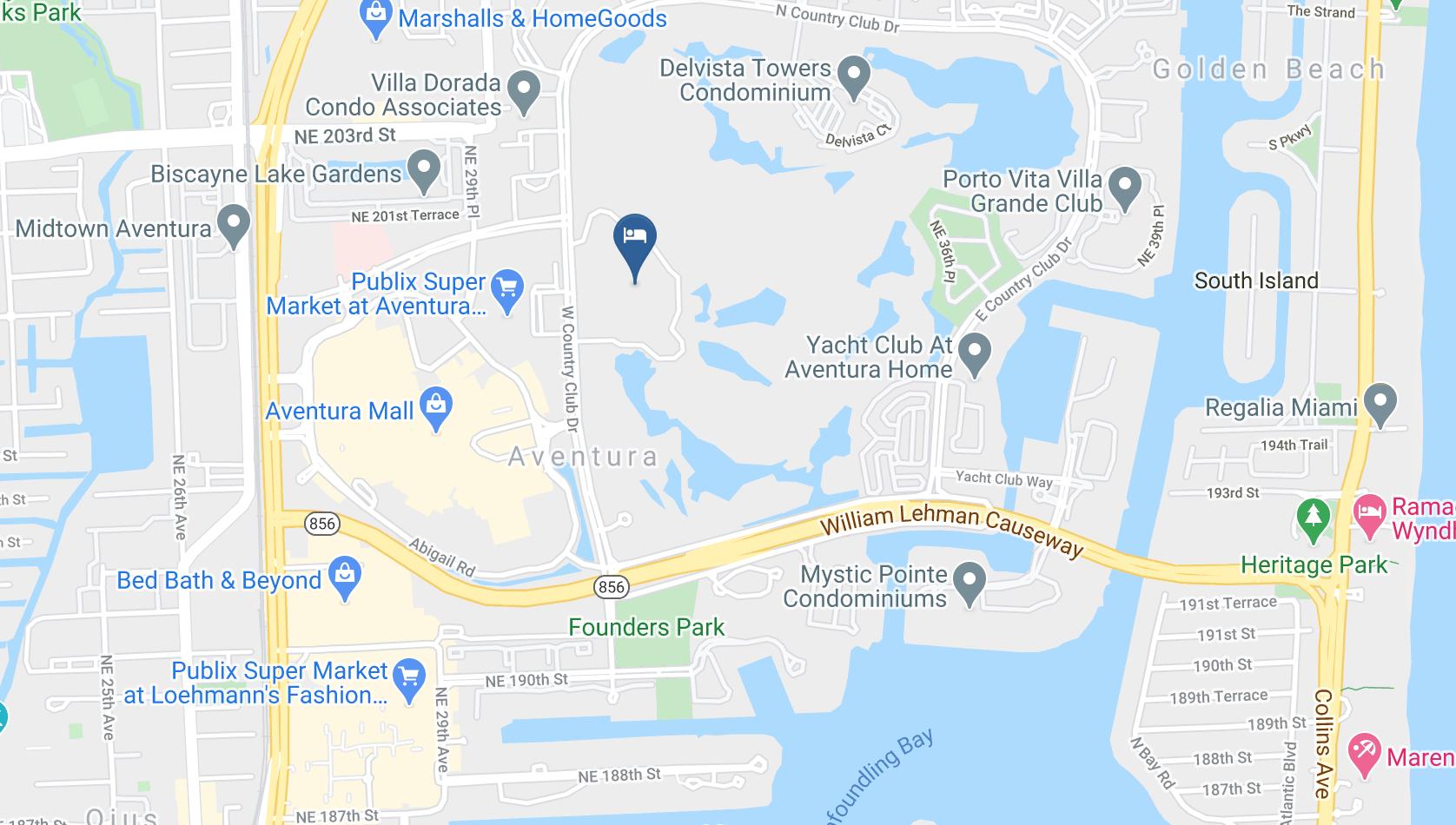 Google Map of JW Marriott Turnberry Isle Miami