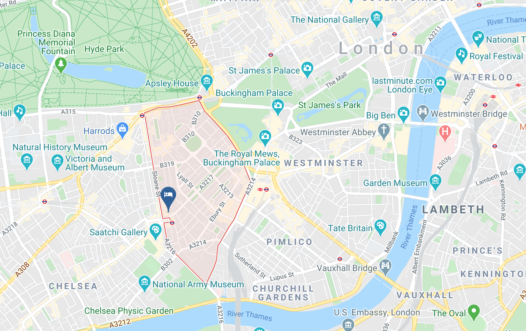 Google Map of Sloane Square Hotel London